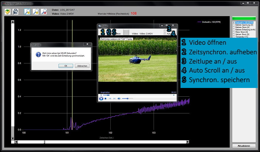 Kimo Graph Log Viewer Video synchronisieren